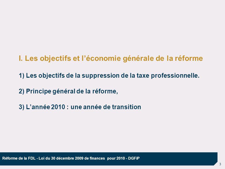 4 Réforme de la FDL - Loi du 30 décembre 2009 de finances pour 2010 - DGFiP 1) Les objectifs de la suppression de la taxe professionnelle.