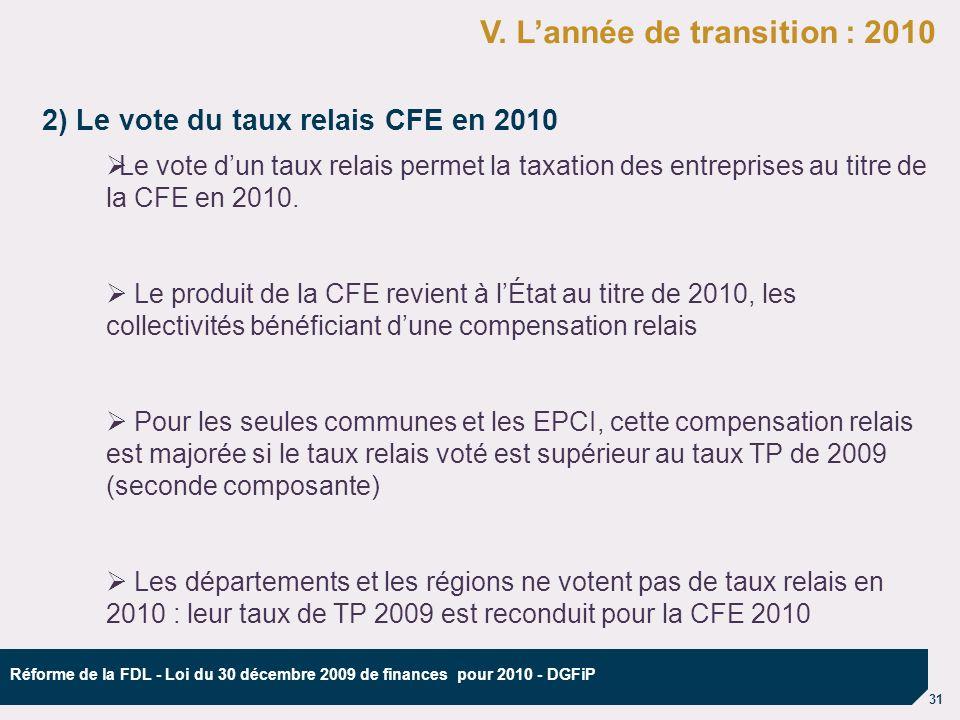 31 Réforme de la FDL - Loi du 30 décembre 2009 de finances pour 2010 - DGFiP 2) Le vote du taux relais CFE en 2010 ØLe vote dun taux relais permet la taxation des entreprises au titre de la CFE en 2010.