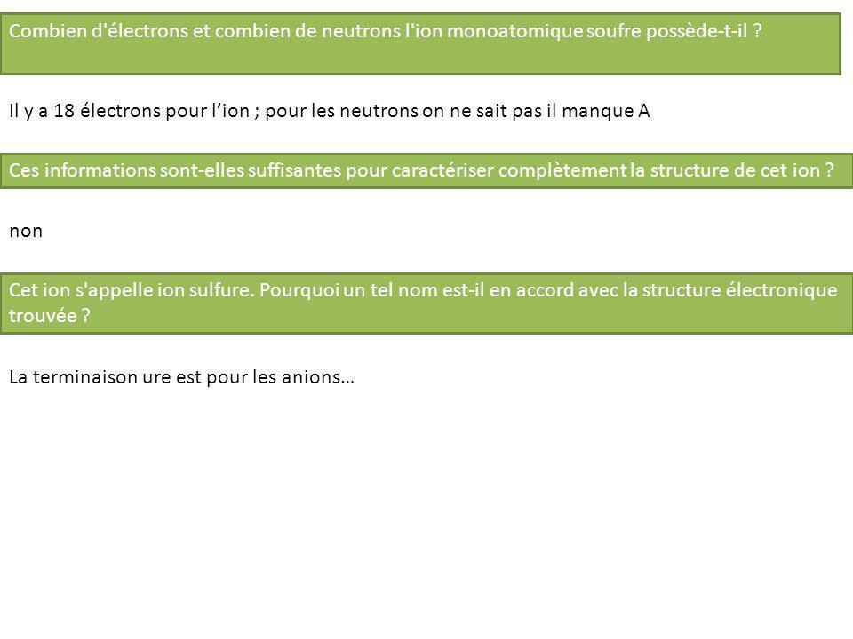 Exercice 3 (position dans la CP + nom + neutralité électrique) La formule du chlorure d aluminium est AlCl 3.