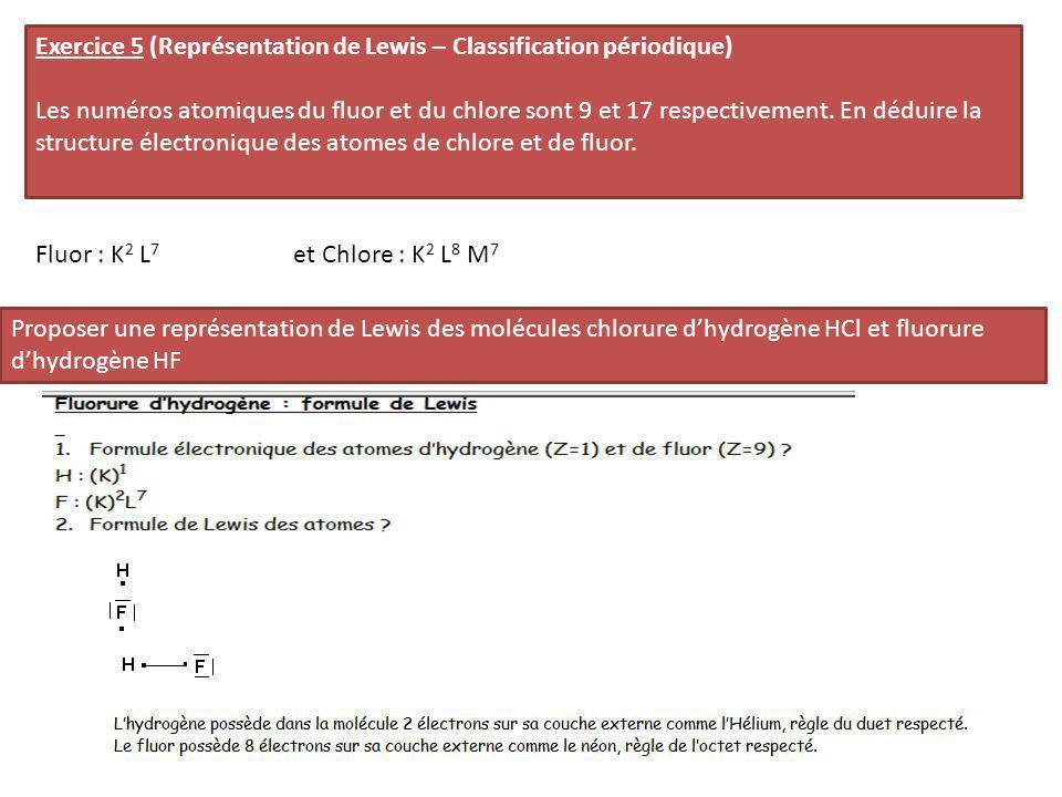 Exercice 5 (Représentation de Lewis – Classification périodique) Les numéros atomiques du fluor et du chlore sont 9 et 17 respectivement. En déduire l