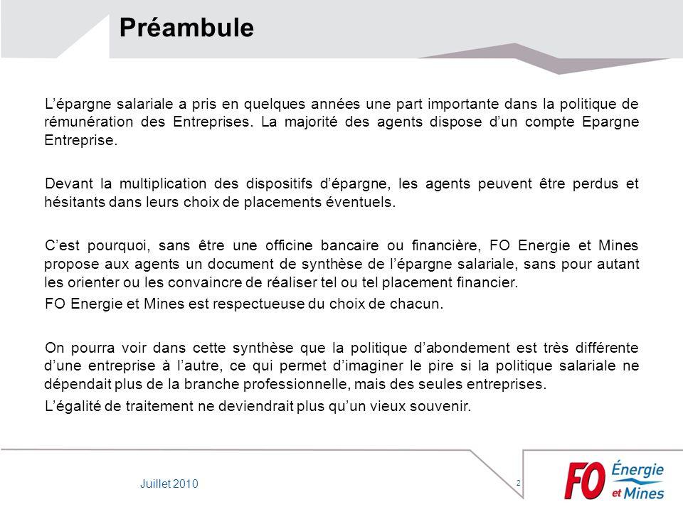 Préambule Lépargne salariale a pris en quelques années une part importante dans la politique de rémunération des Entreprises. La majorité des agents d