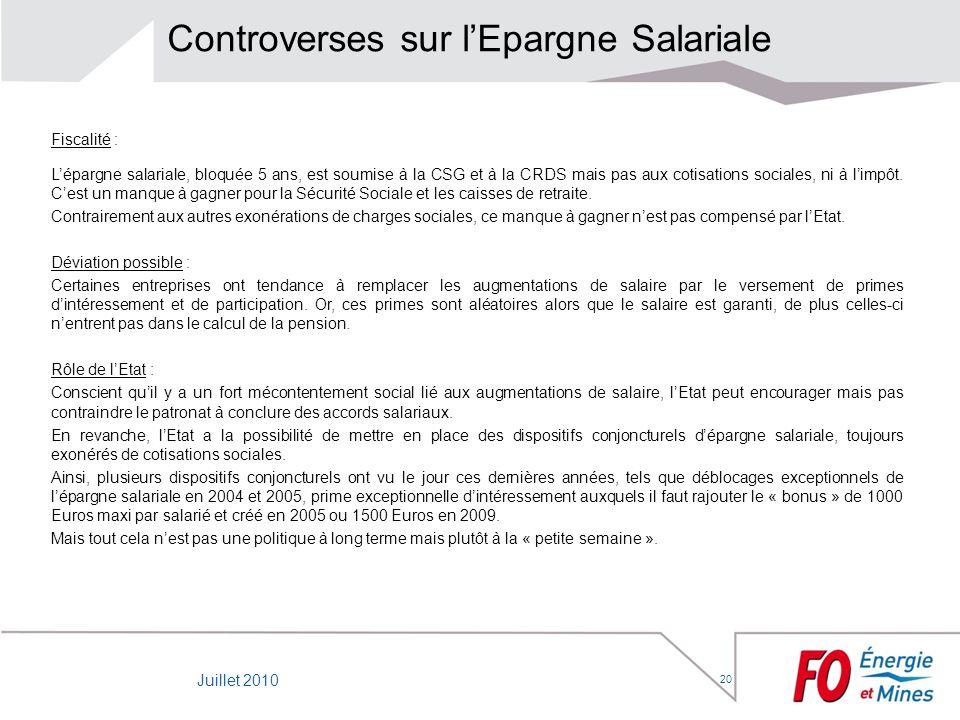 20 Controverses sur lEpargne Salariale Fiscalité : Lépargne salariale, bloquée 5 ans, est soumise à la CSG et à la CRDS mais pas aux cotisations socia