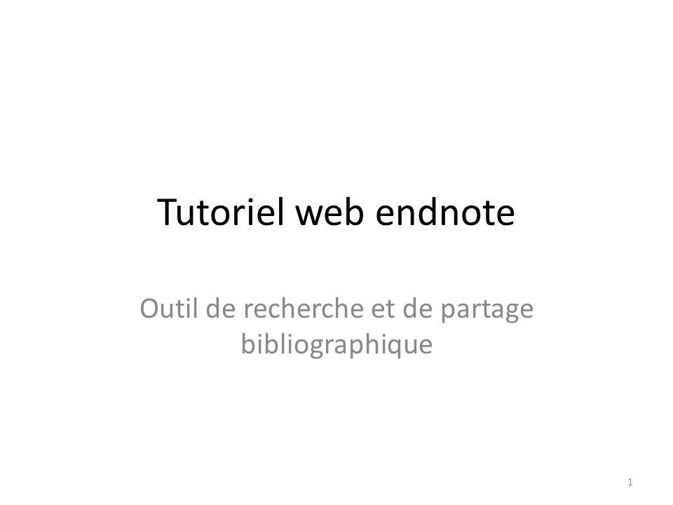 Tutoriel web endnote Outil de recherche et de partage bibliographique 1