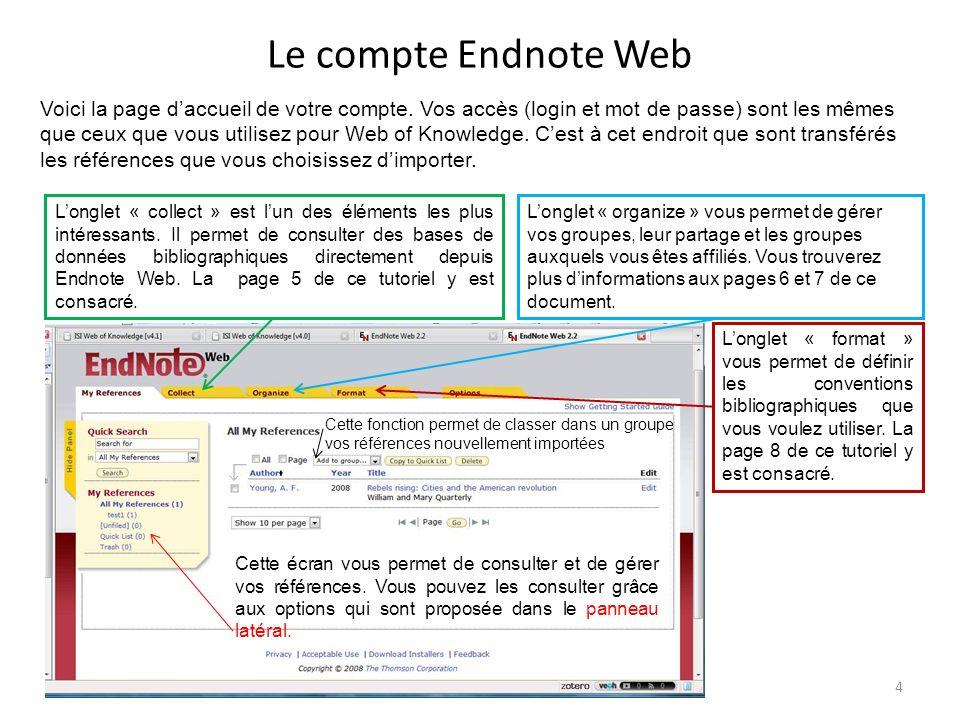Le compte Endnote Web Voici la page daccueil de votre compte. Vos accès (login et mot de passe) sont les mêmes que ceux que vous utilisez pour Web of