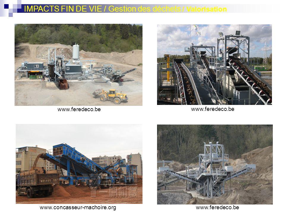 IMPACTS FIN DE VIE / Gestion des déchets / Valorisation www.feredeco.be www.concasseur-machoire.org www.feredeco.be
