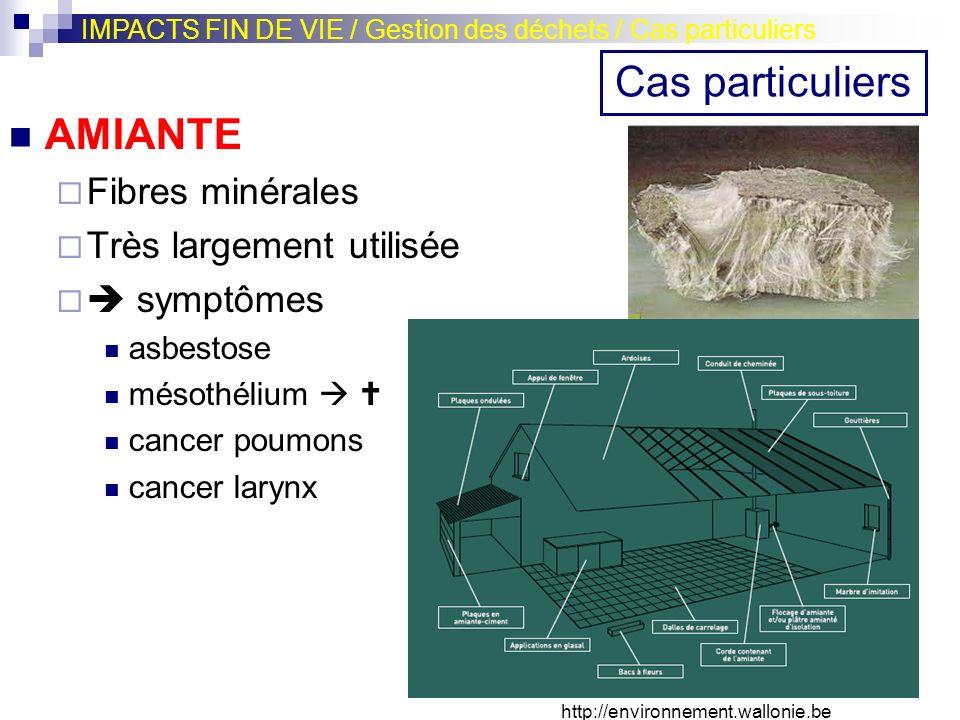 AMIANTE Fibres minérales Très largement utilisée symptômes asbestose mésothélium cancer poumons cancer larynx IMPACTS FIN DE VIE / Gestion des déchets