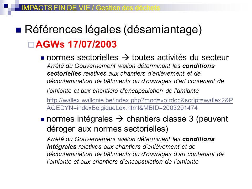Références légales (désamiantage) AGWs 17/07/2003 normes sectorielles toutes activités du secteur Arrêté du Gouvernement wallon déterminant les condit
