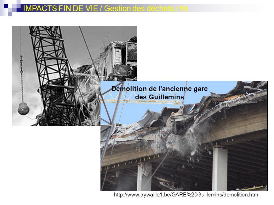 http://www.aywaille1.be/GARE%20Guillemins/demolition.htm Démolition de l'ancienne gare des Guillemins IMPACTS FIN DE VIE / Gestion des déchets / Tri