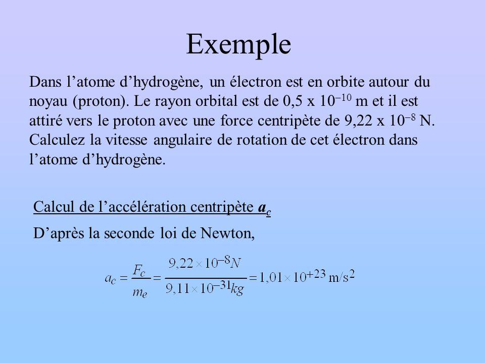 Exemple Dans latome dhydrogène, un électron est en orbite autour du noyau (proton). Le rayon orbital est de 0,5 x 10 –10 m et il est attiré vers le pr
