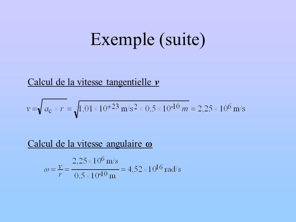 Exemple (suite) Calcul de la vitesse tangentielle v Calcul de la vitesse angulaire