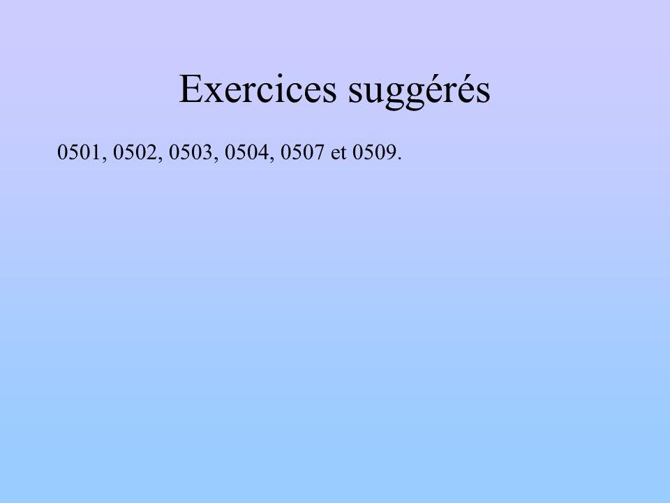 Exercices suggérés 0501, 0502, 0503, 0504, 0507 et 0509.