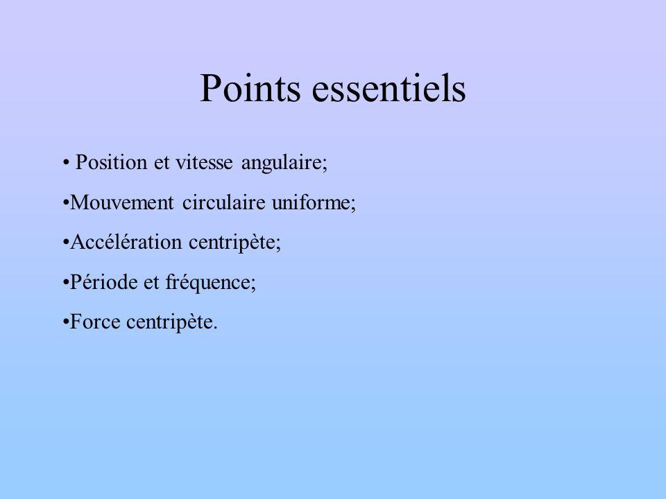 Points essentiels Position et vitesse angulaire; Mouvement circulaire uniforme; Accélération centripète; Période et fréquence; Force centripète.