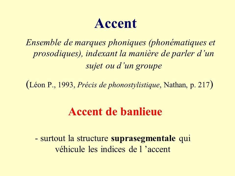Accent - accentuation - accent tonique phénomène prosodique de saillance syllabique - accent régional, dialectal - accent social spécificité phonique propre à un sujet ou à un groupe