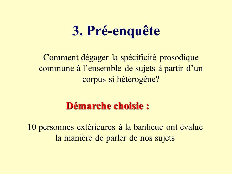 2. Constitution du corpus Terrain : Les Hauts de Rouen, banlieue rouennaise Sujets critères de choix extralinguistiques Sujets : critères de choix ext