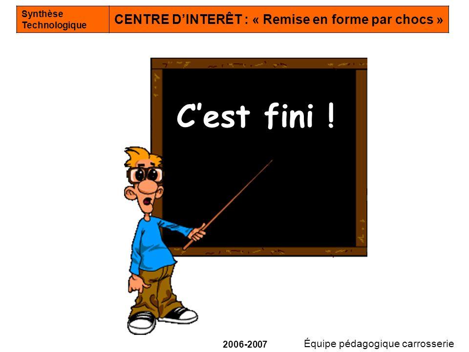 Équipe pédagogique carrosserie Synthèse Technologique CENTRE DINTERÊT : « Remise en forme par chocs » 2006-2007 Cest fini !