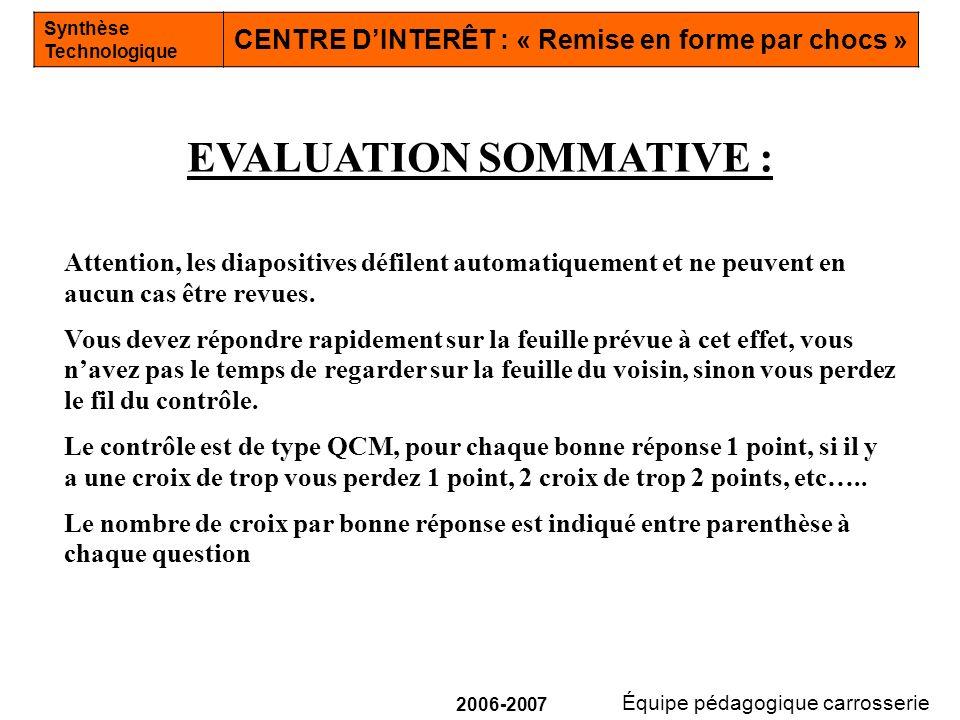 Équipe pédagogique carrosserie Synthèse Technologique CENTRE DINTERÊT : « Remise en forme par chocs » 2006-2007 Attention, les diapositives défilent a