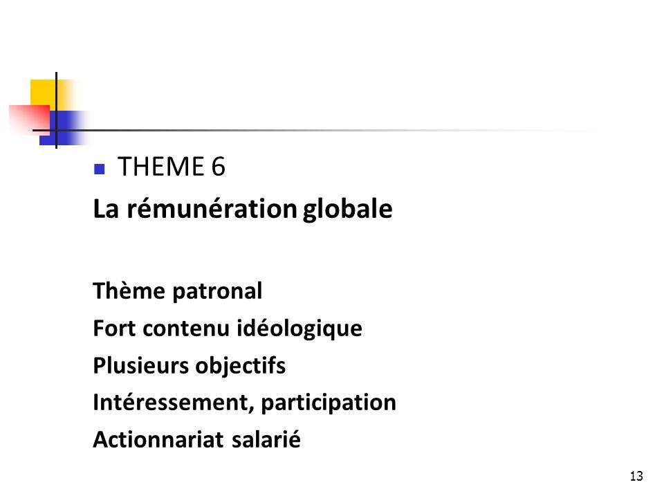 13 THEME 6 La rémunération globale Thème patronal Fort contenu idéologique Plusieurs objectifs Intéressement, participation Actionnariat salarié