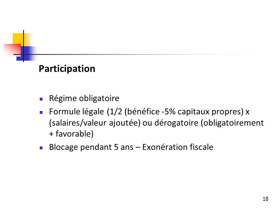 18 Participation Régime obligatoire Formule légale (1/2 (bénéfice -5% capitaux propres) x (salaires/valeur ajoutée) ou dérogatoire (obligatoirement + favorable) Blocage pendant 5 ans – Exonération fiscale
