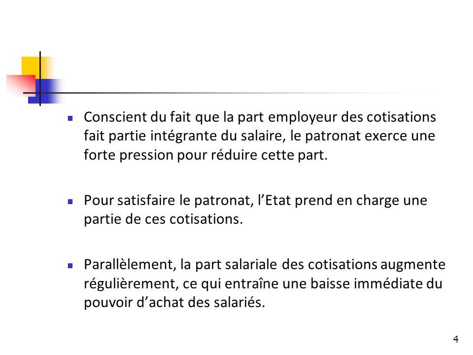 4 Conscient du fait que la part employeur des cotisations fait partie intégrante du salaire, le patronat exerce une forte pression pour réduire cette part.
