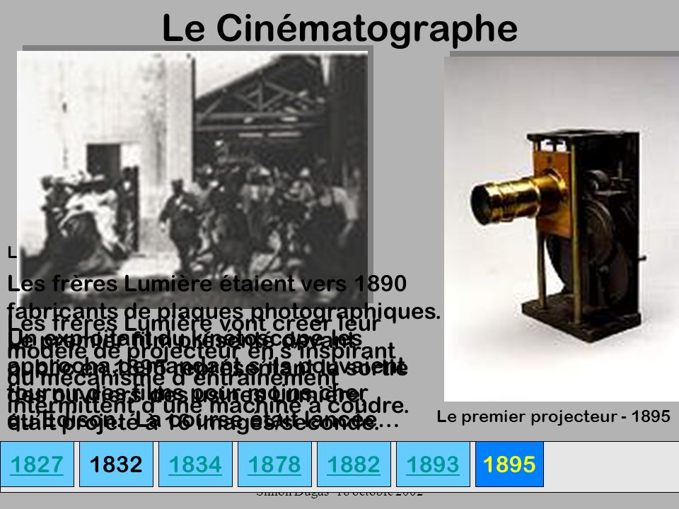 UQAM- EDU 7492-60 Simon Dugas- 18 octobre 2002 Le Cinématographe 182718341878189318821895 Louis et Auguste Lumière Le premier projecteur - 1895 Les fr