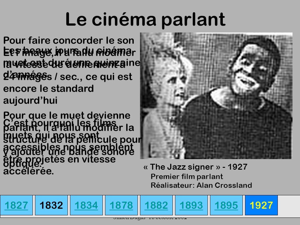 UQAM- EDU 7492-60 Simon Dugas- 18 octobre 2002 Le cinéma parlant 18271834187818931882189518321927 « The Jazz signer » - 1927 Les beaux jours du cinéma