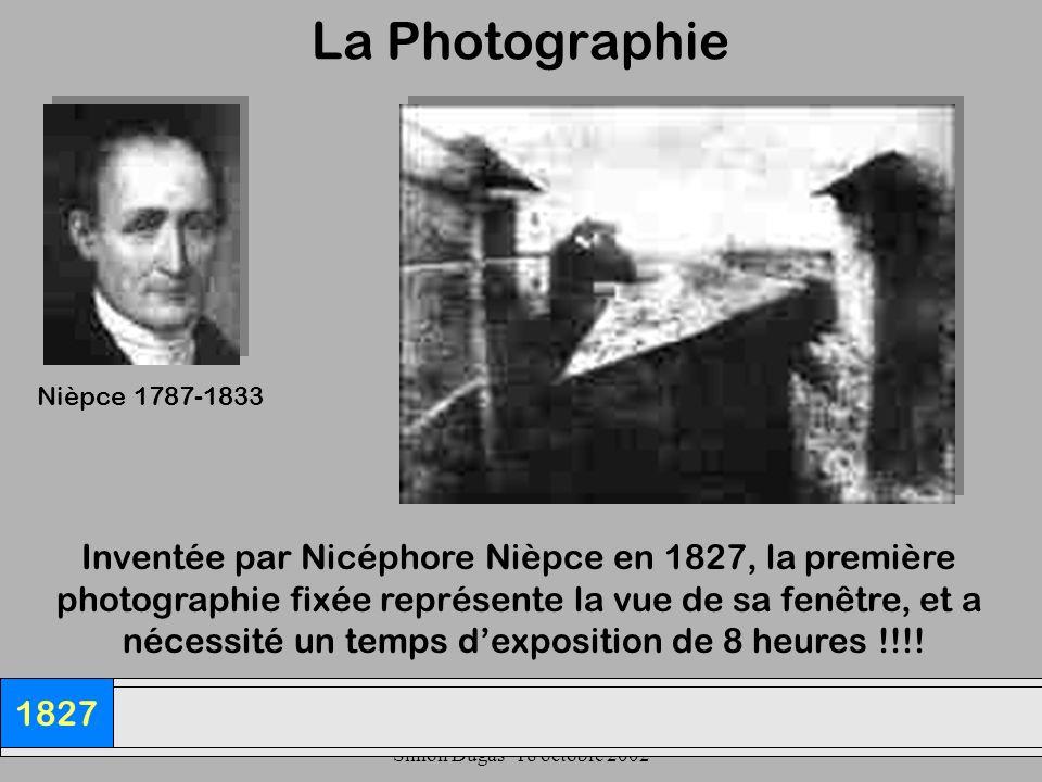 UQAM- EDU 7492-60 Simon Dugas- 18 octobre 2002 La Photographie 1827 Inventée par Nicéphore Nièpce en 1827, la première photographie fixée représente l