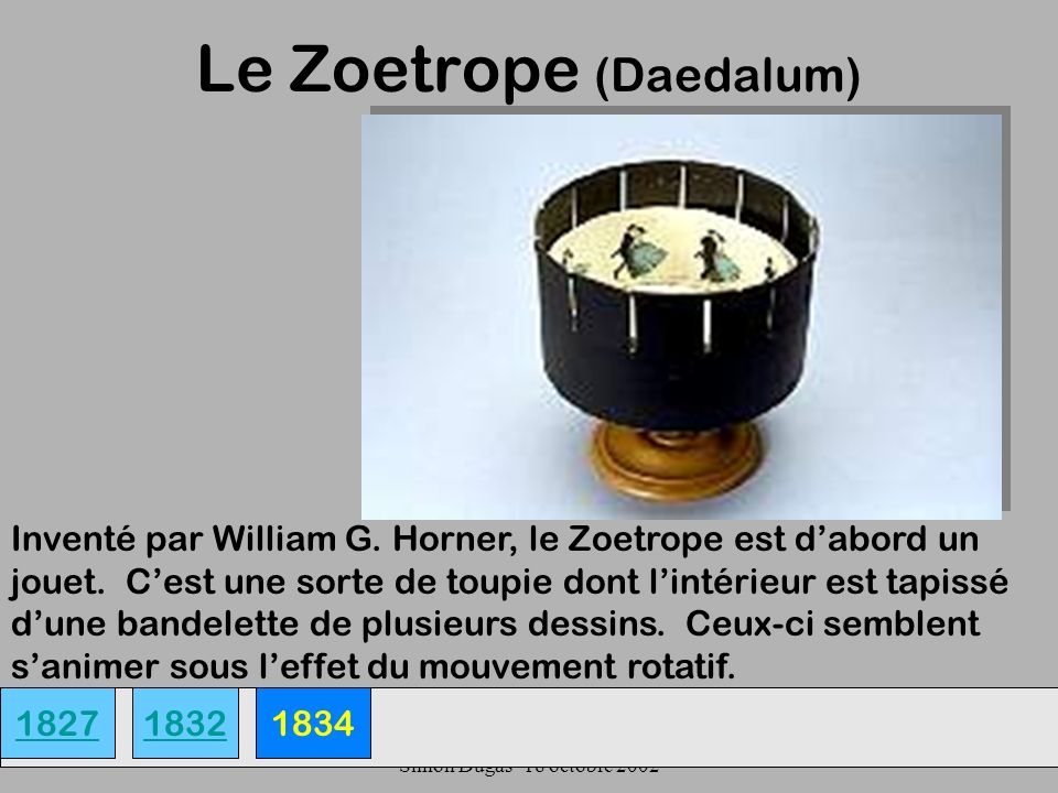 UQAM- EDU 7492-60 Simon Dugas- 18 octobre 2002 Le Zoetrope (Daedalum) 18271834 Inventé par William G.