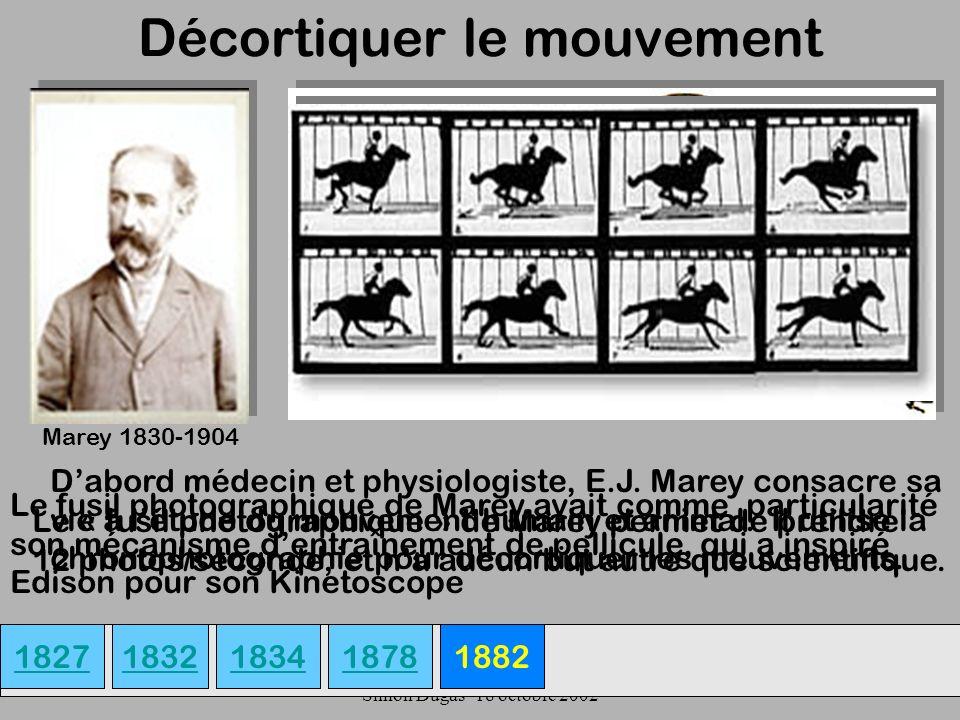 UQAM- EDU 7492-60 Simon Dugas- 18 octobre 2002 Décortiquer le mouvement 18271882 Marey 1830-1904 Dabord médecin et physiologiste, E.J. Marey consacre