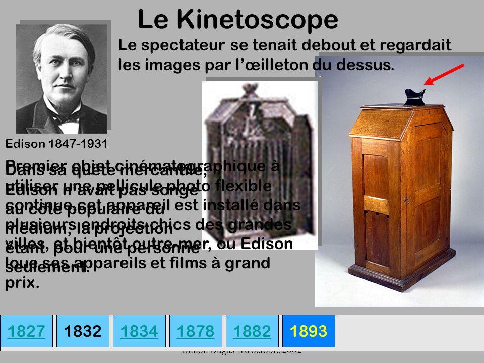 UQAM- EDU 7492-60 Simon Dugas- 18 octobre 2002 Le Kinetoscope 18271834187818931882 Edison 1847-1931 Premier objet cinématographique à utiliser une pel