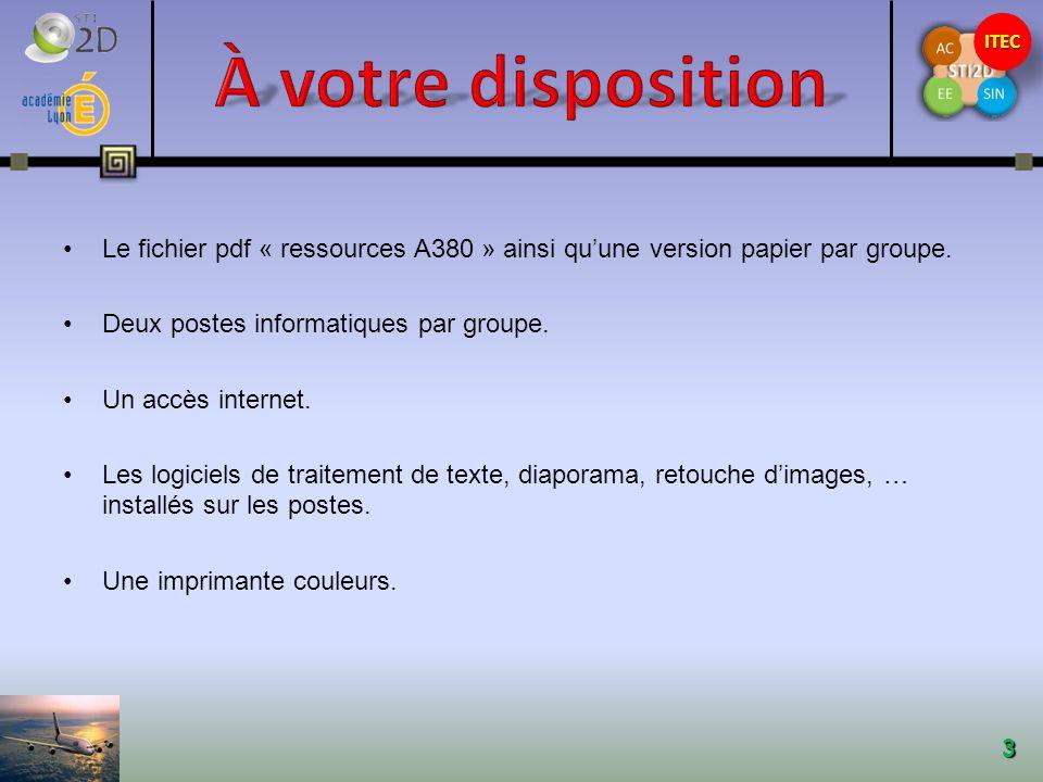 ITECITEC 3 Le fichier pdf « ressources A380 » ainsi quune version papier par groupe.