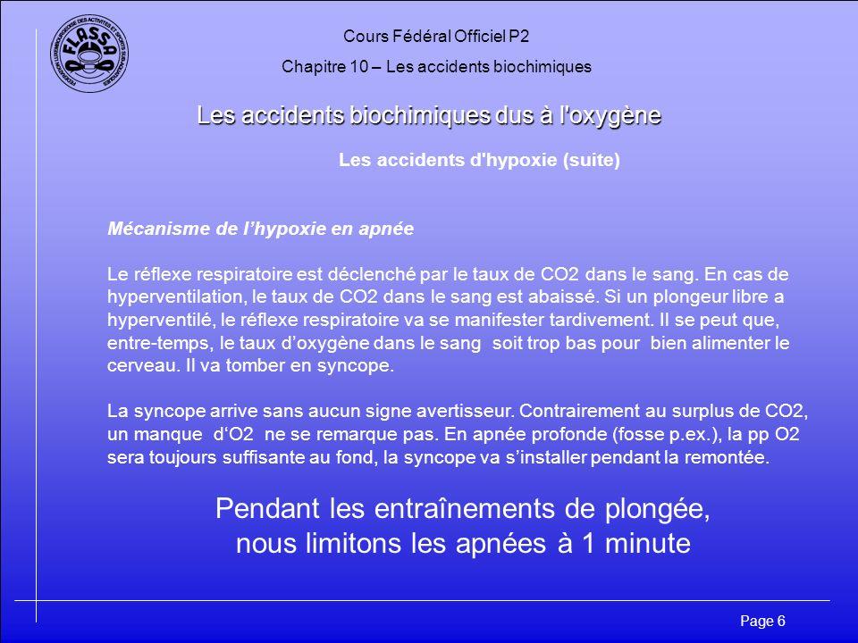 Cours Fédéral Officiel P2 Chapitre 10 – Les accidents biochimiques Page 6 Les accidents biochimiques dus à l'oxygène Les accidents d'hypoxie (suite) M