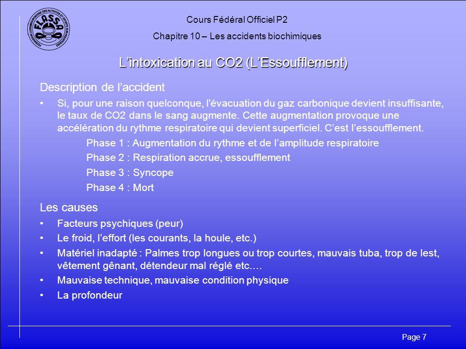 Cours Fédéral Officiel P2 Chapitre 10 – Les accidents biochimiques Page 7 Lintoxication au CO2 (LEssoufflement) Description de laccident Si, pour une