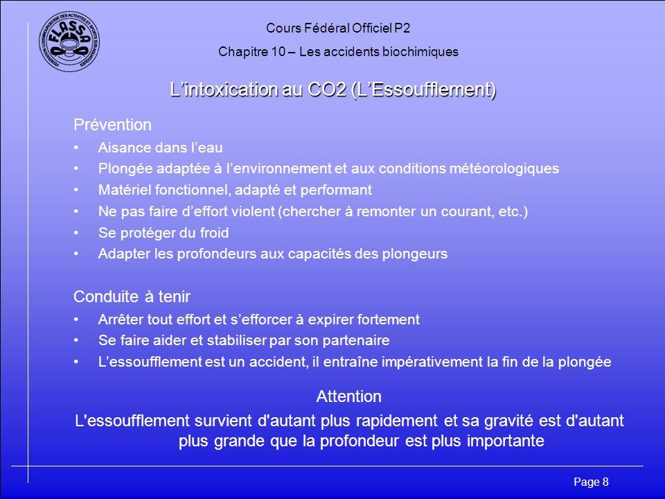 Cours Fédéral Officiel P2 Chapitre 10 – Les accidents biochimiques Page 8 Lintoxication au CO2 (LEssoufflement) Prévention Aisance dans leau Plongée a