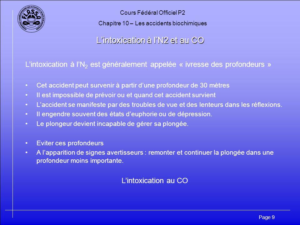 Cours Fédéral Officiel P2 Chapitre 10 – Les accidents biochimiques Page 9 Lintoxication à lN2 et au CO Lintoxication à lN 2 est généralement appelée «