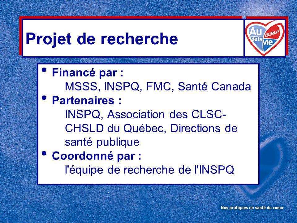 Projet de recherche Financé par : MSSS, INSPQ, FMC, Santé Canada Partenaires : INSPQ, Association des CLSC- CHSLD du Québec, Directions de santé publique Coordonné par : l équipe de recherche de l INSPQ