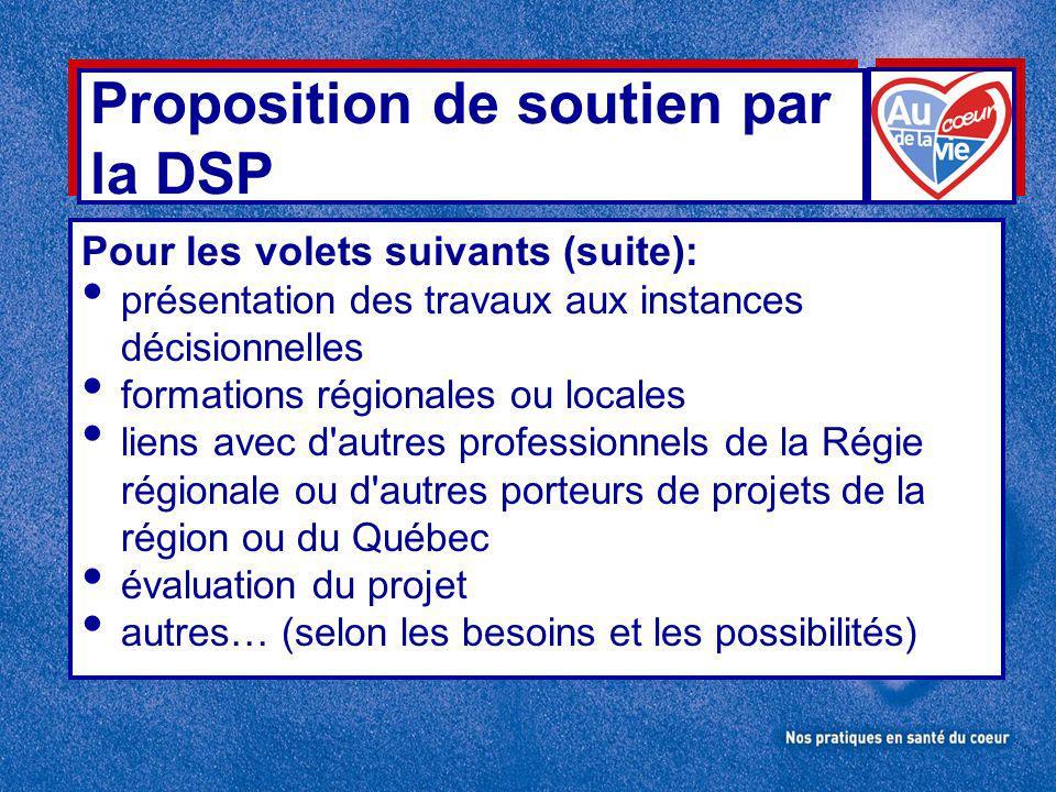 Proposition de soutien par la DSP Pour les volets suivants (suite): présentation des travaux aux instances décisionnelles formations régionales ou locales liens avec d autres professionnels de la Régie régionale ou d autres porteurs de projets de la région ou du Québec évaluation du projet autres… (selon les besoins et les possibilités)