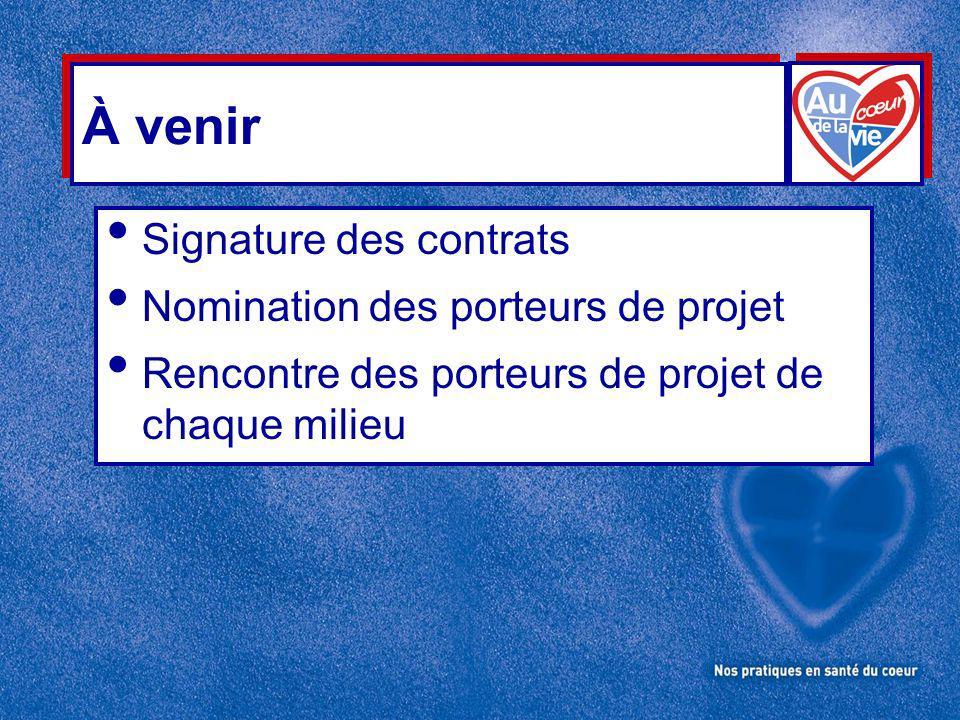 À venir Signature des contrats Nomination des porteurs de projet Rencontre des porteurs de projet de chaque milieu