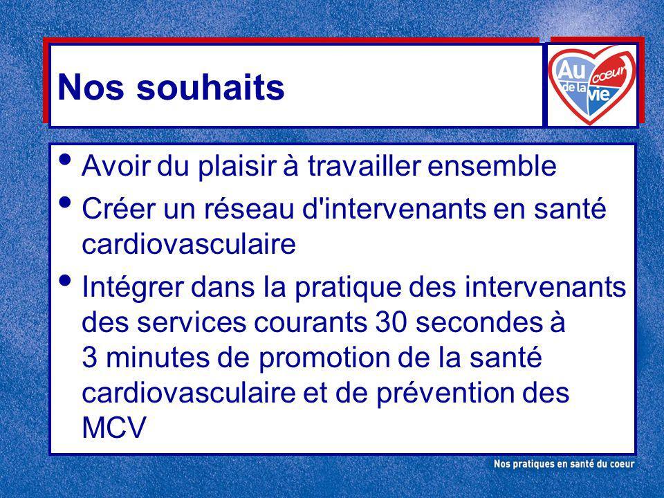 Nos souhaits Avoir du plaisir à travailler ensemble Créer un réseau d intervenants en santé cardiovasculaire Intégrer dans la pratique des intervenants des services courants 30 secondes à 3 minutes de promotion de la santé cardiovasculaire et de prévention des MCV