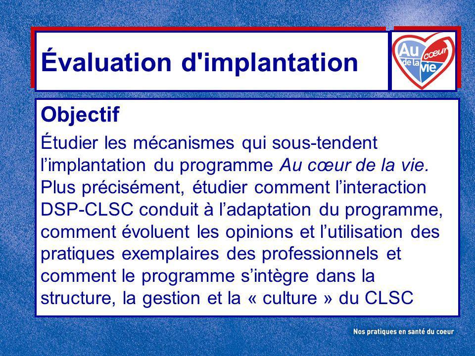 Évaluation d implantation Objectif Étudier les mécanismes qui sous-tendent limplantation du programme Au cœur de la vie.