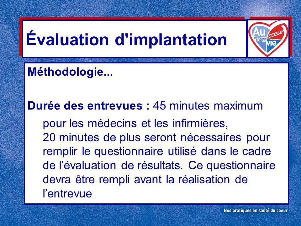 Évaluation d implantation Méthodologie...