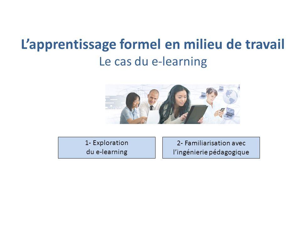 Lapprentissage formel en milieu de travail Le cas du e-learning 1- Exploration du e-learning 2- Familiarisation avec lingénierie pédagogique