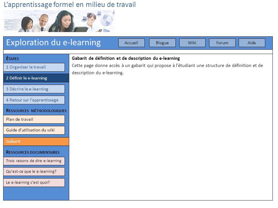 Exploration du e-learning Lapprentissage formel en milieu de travail 3 Décrire le e-learning 4 Retour sur lapprentissage Plan de travail Gabarit Gabar