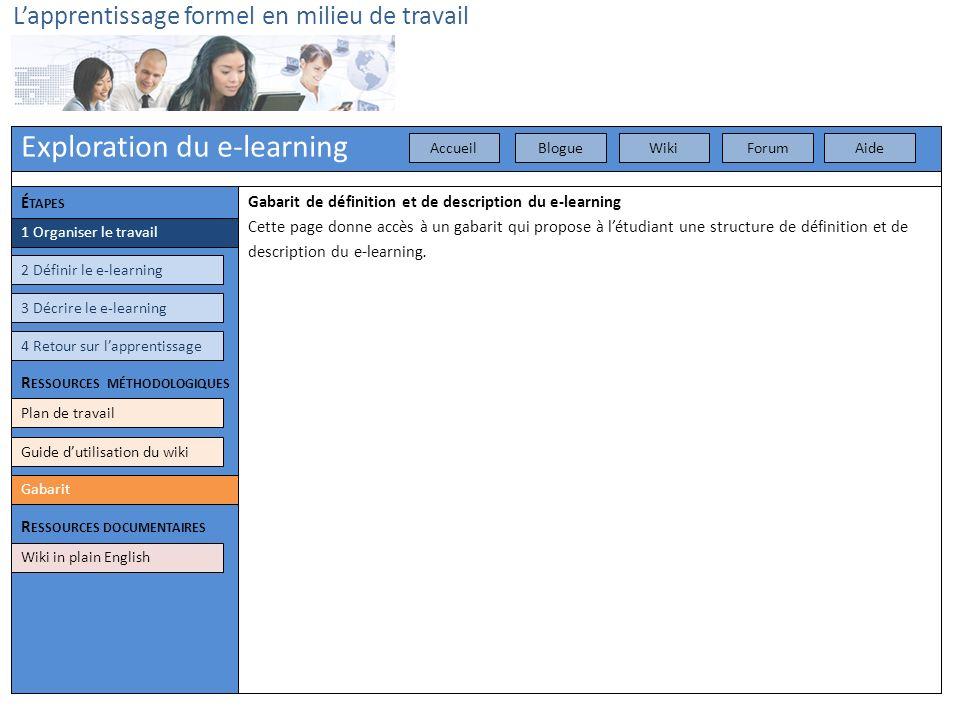 Exploration du e-learning Lapprentissage formel en milieu de travail 3 Décrire le e-learning 4 Retour sur lapprentissage Plan de travail Gabarit Guide