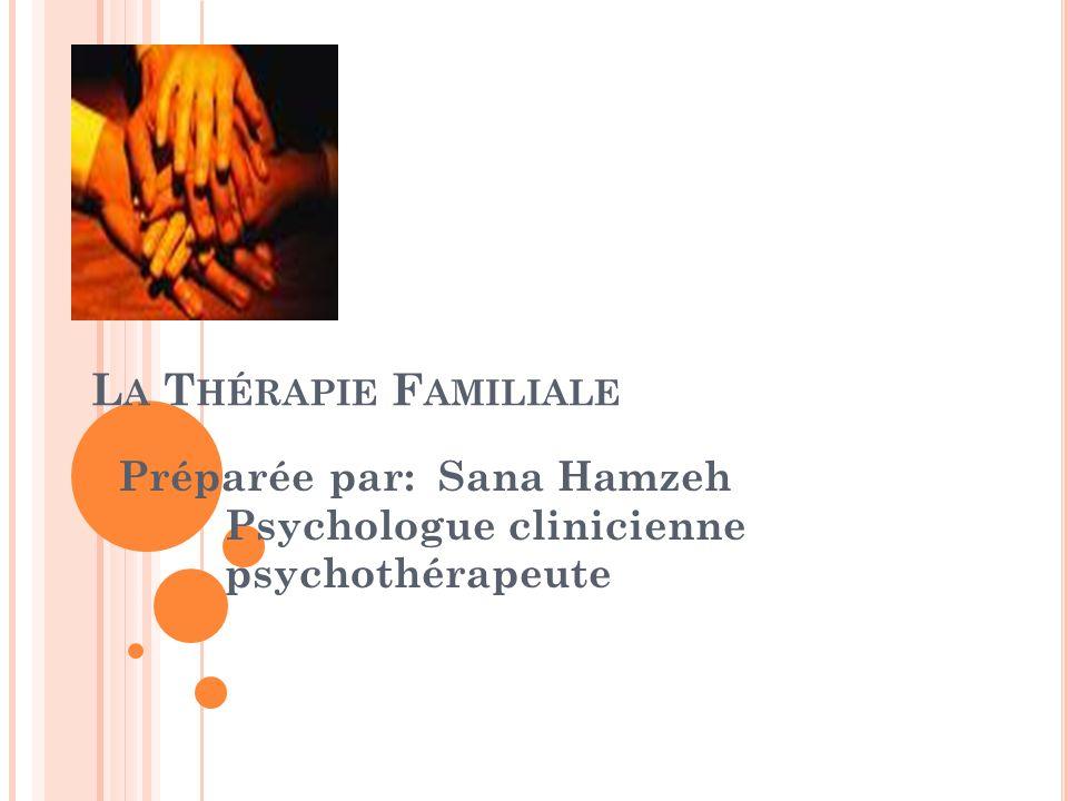 L A T HÉRAPIE F AMILIALE Préparée par: Sana Hamzeh Psychologue clinicienne psychothérapeute