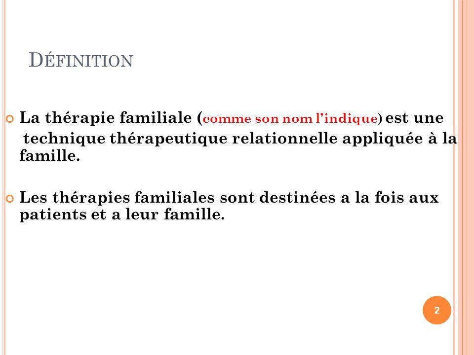 D ÉFINITION La thérapie familiale ( comme son nom lindique) est une technique thérapeutique relationnelle appliquée à la famille. Les thérapies famili