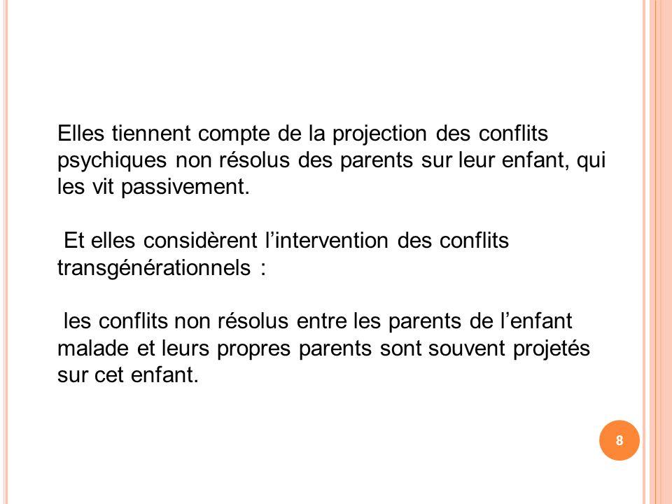 8 Elles tiennent compte de la projection des conflits psychiques non résolus des parents sur leur enfant, qui les vit passivement. Et elles considèren