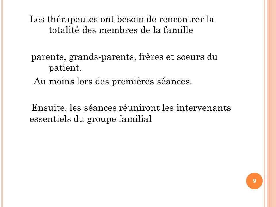 Les thérapeutes ont besoin de rencontrer la totalité des membres de la famille parents, grands-parents, frères et soeurs du patient. Au moins lors des