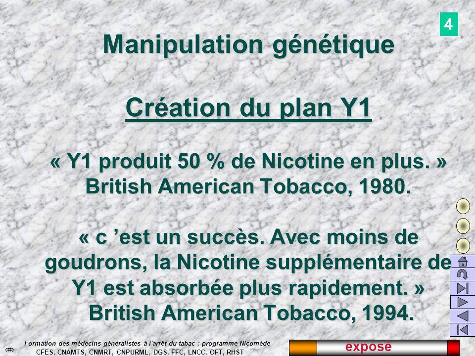 exposé 28 Formation des médecins généralistes à l arrêt du tabac : programme Nicomède CFES, CNAMTS, CNMRT, CNPURML, DGS, FFC, LNCC, OFT, RHST Manipulation génétique Création du plan Y1 « Y1 produit 50 % de Nicotine en plus.