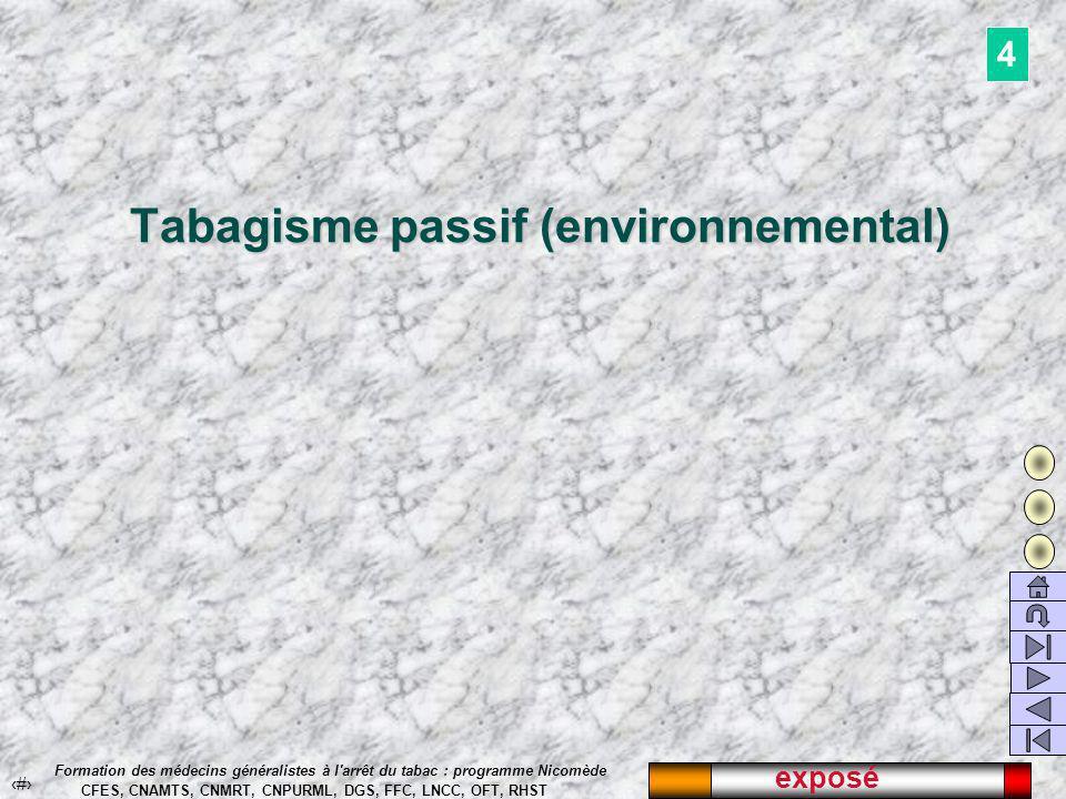exposé 43 Formation des médecins généralistes à l arrêt du tabac : programme Nicomède CFES, CNAMTS, CNMRT, CNPURML, DGS, FFC, LNCC, OFT, RHST Tabagisme passif (environnemental) 4