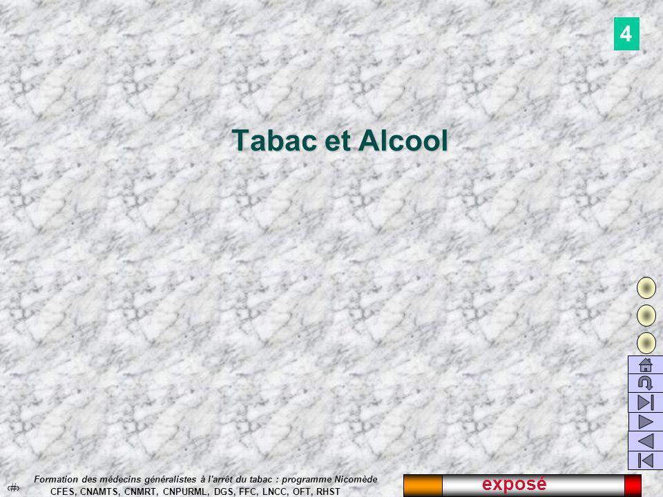 exposé 51 Formation des médecins généralistes à l arrêt du tabac : programme Nicomède CFES, CNAMTS, CNMRT, CNPURML, DGS, FFC, LNCC, OFT, RHST Tabac et Alcool Tabac et Alcool 4